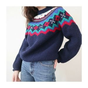 Vintage 80s The Woolrich Woman Fair Isle Sweater